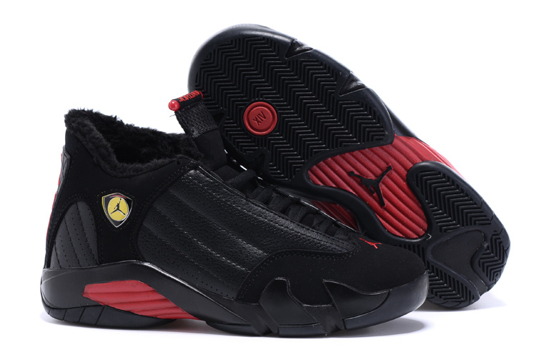 New Air Jordan 14 Wool Black Red Women Shoes