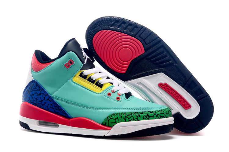 New Air Jordan 3 Madarick Duck Green Red Blue Shoes For Women
