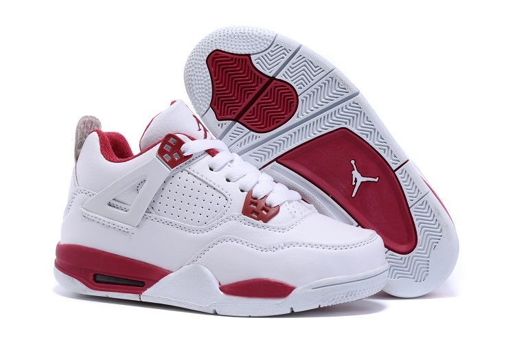 New Air Jordan 4 White Red Shoes For Kids  WOMEN676  -  80.00 ... 47a39a336b
