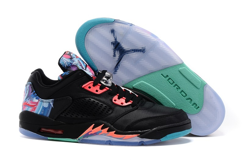 New Air Jordan 5 Low Kite of China Black Red Shoes