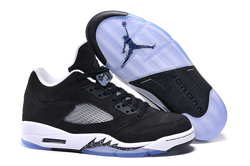 New Air Jordan 5 Low Oreo Black White Shoes