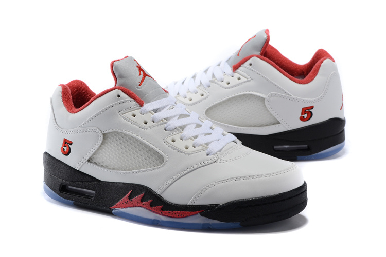 New Air Jordan 5 Low White Red Black