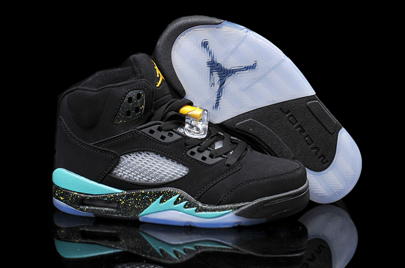 New Air Jordan 5 Retro Black Green Yellow Shoes