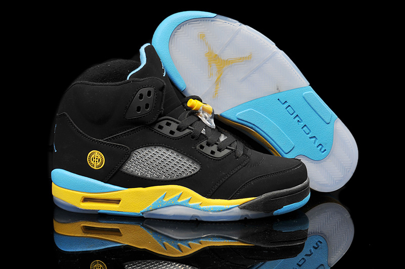 New Air Jordan 5 Retro Black Yellow Blue Shoes