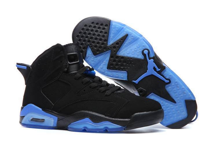 New Air Jordan 6 Black Blue Basketball Shoes