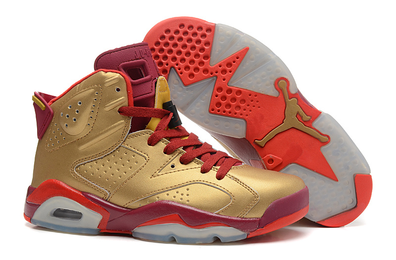 best service 37372 bcc0d New Air Jordan 6 Gold Red Champion Shoes