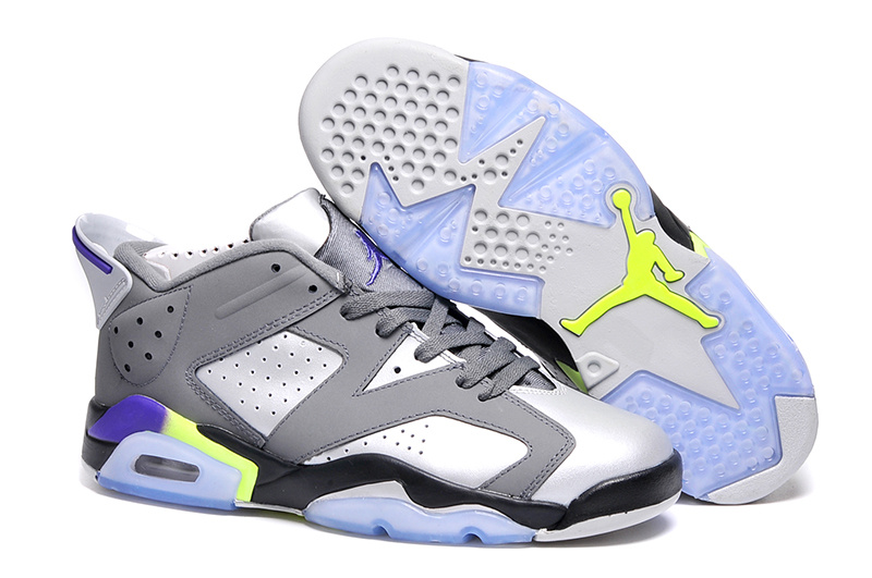 New Air Jordan 6 Low Grey Silver Black Lover Shoes