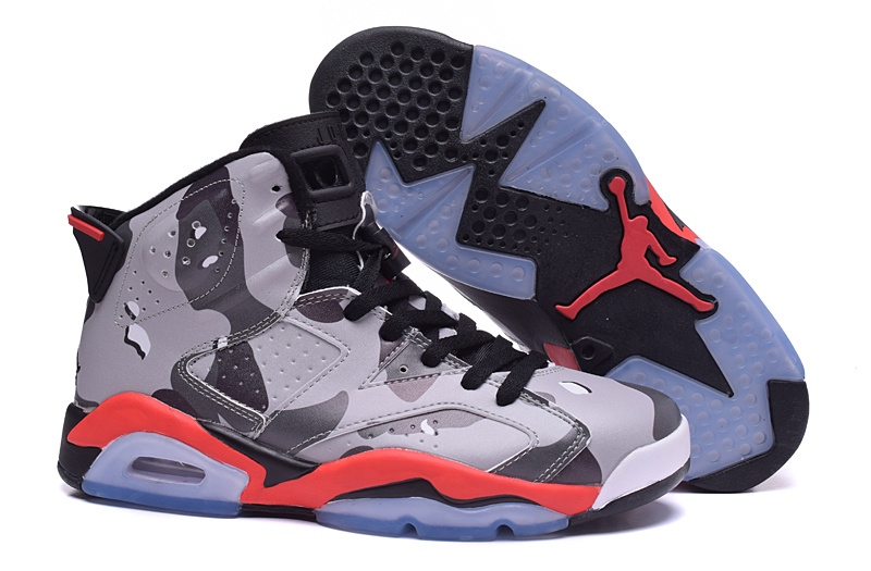 New Air Jordan 6 Retro Grey Army Black Red Women's Shoes