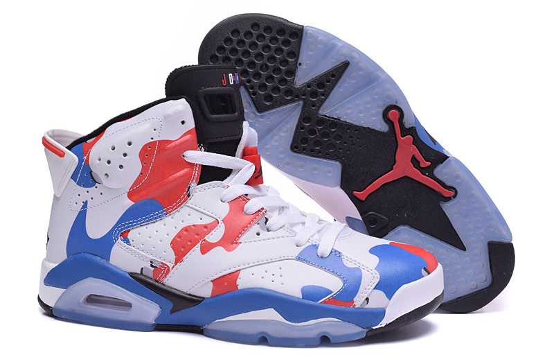New Air Jordan 6 Retro White Blue Red Women's Shoes