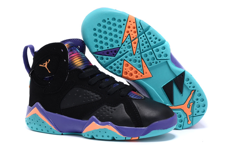 New Air Jordan 7 Black Purple Orange Shoes For Kids