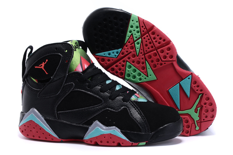 New Air Jordan 7 Black Red Green Shoes For Kids