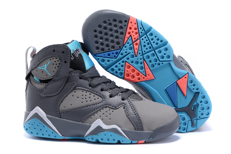 New Air Jordan 7 Grey Blue Shoes For Kids