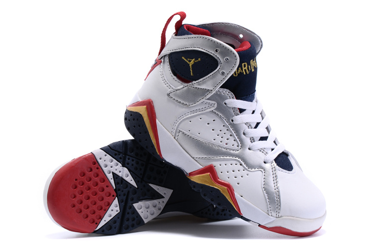 New Air Jordan 7 Olympic White Silver Red Orange Shoes For Kids