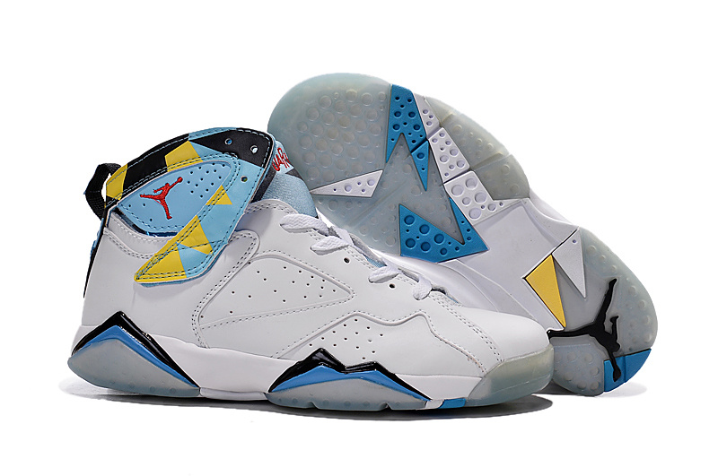 New Air Jordan 7 Retro White Blue Yellow Shoes