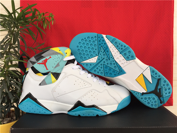 New Air Jordan 7 Retro White Green Yellow Shoes