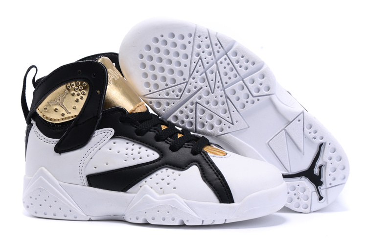 New Air Jordan 7 White Black Gold Shoes For Kids