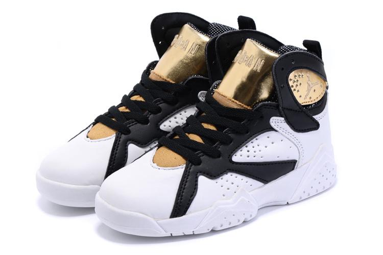 bacd04fba4d3 New Air Jordan 7 White Black Gold Shoes For Kids  WOMEN670  -  85.00 ...