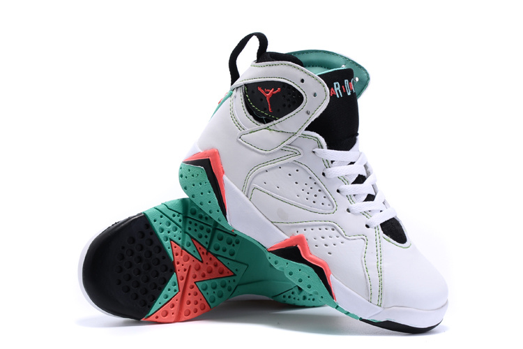 New Air Jordan 7 White Black Green Shoes For Kids