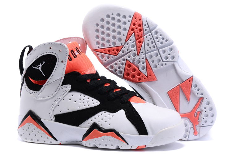 New Air Jordan 7 White Black Red Shoes For Kids