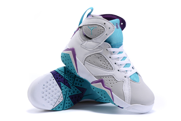 81255637557bba New Air Jordan 7 White Grey Baby Blue Shoes For Kids  WOMEN673 ...
