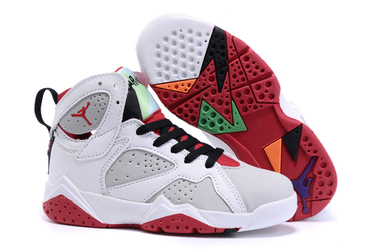 536d26e9578 New Air Jordan 7 White Red Black Shoes For Kids  WOMEN674  -  85.00 ...