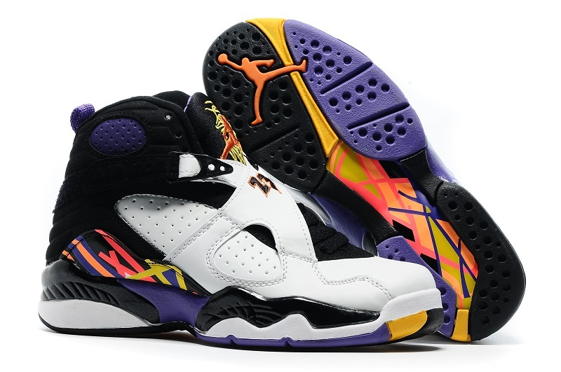 New Women Air Jordan 8 Retro White Black Yellow Shoes