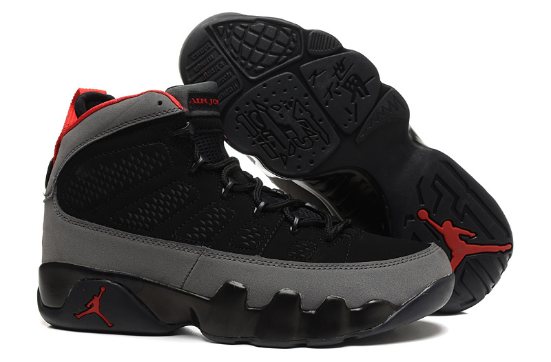 New Air Jordan 9 Retro GS Black Grey Red Shoes