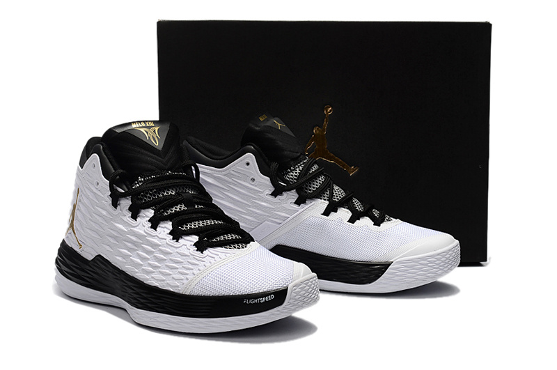 New Air Jordan Melo 13 White Black Shoes