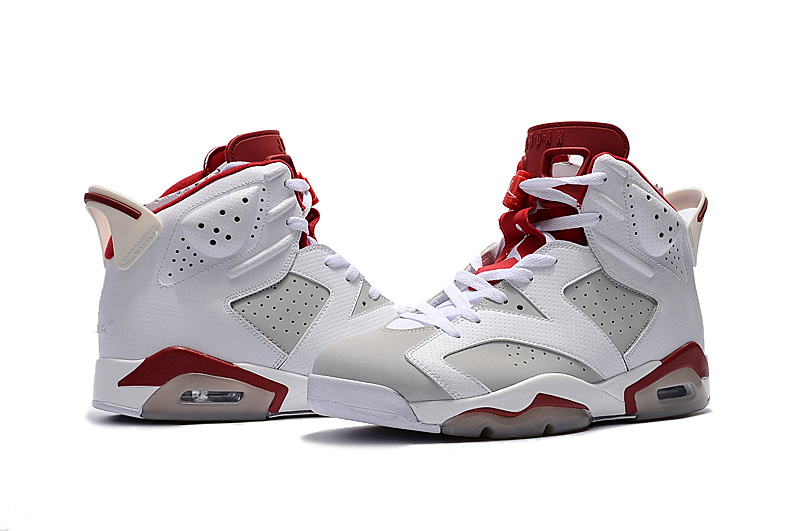 New Jordan 6 Alternate White Grey Red Shoes