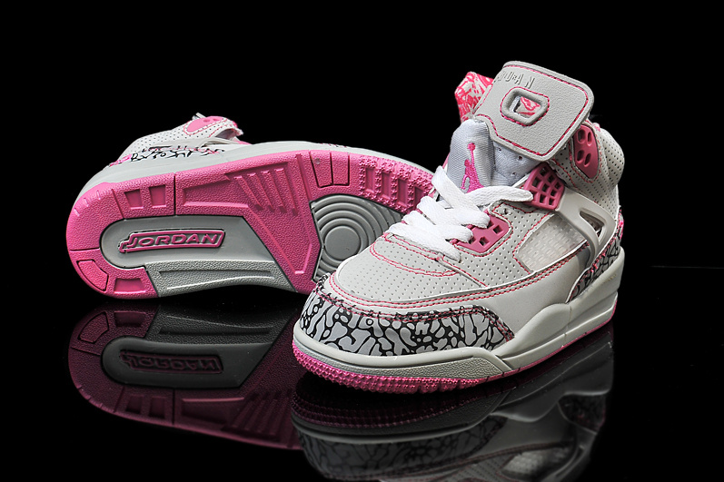 New Kids Air Jordan Spizike Cement Grey Pink White Shoes