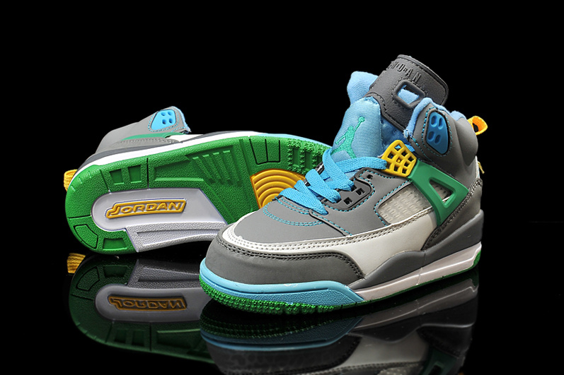 New Kids Air Jordan Spizike Grey Blue Green Shoes
