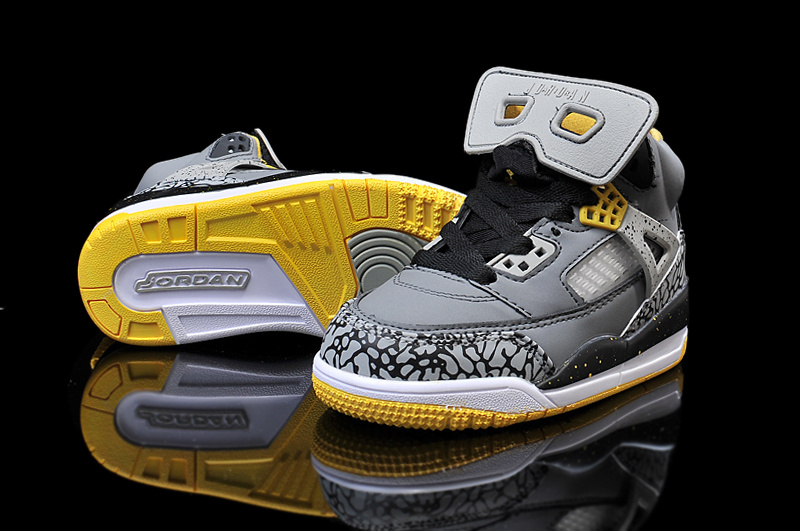 New Kids Air Jordan Spizike Grey Yellow Shoes