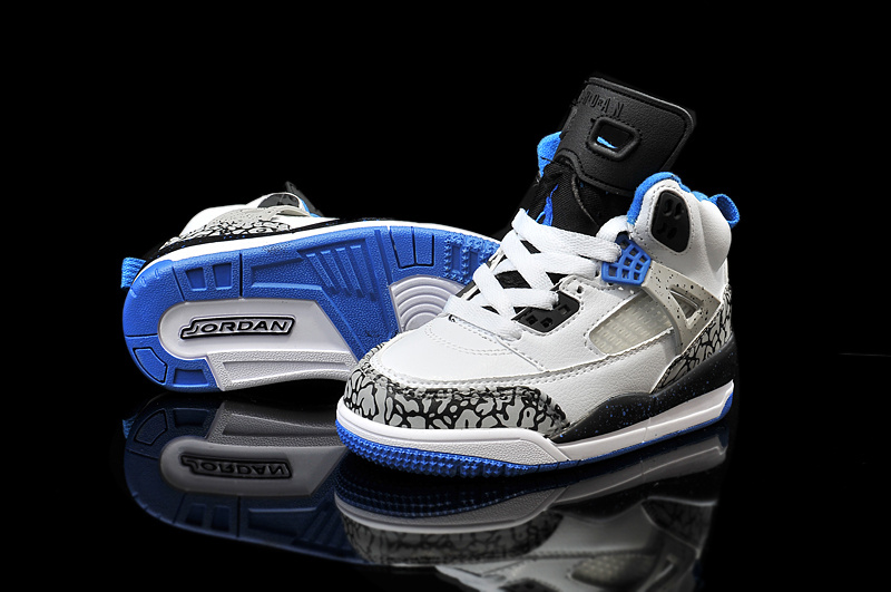 New Kids Air Jordan Spizike White Cement Grey Blue Black Shoes