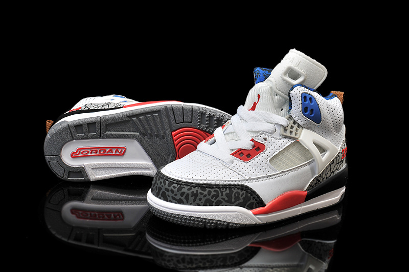 New Kids Air Jordan Spizike White Grey Red Black Shoes