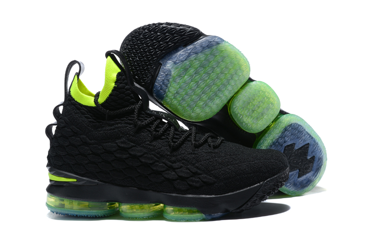 2017 Nike Lebron 15 Black Fluoresecent Green Basketball Shoes
