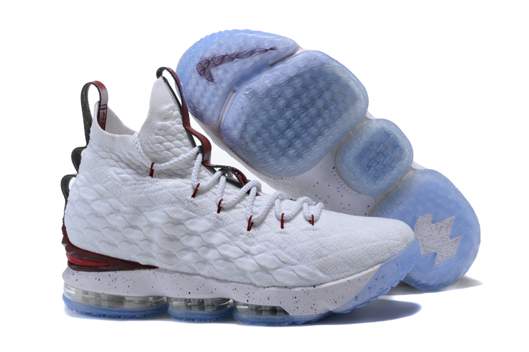 2017 Nike Lebron 15 White Wine Red Basketball Shoes