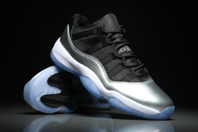 New Men Air Jordan 11 Low Silver Black Shoes