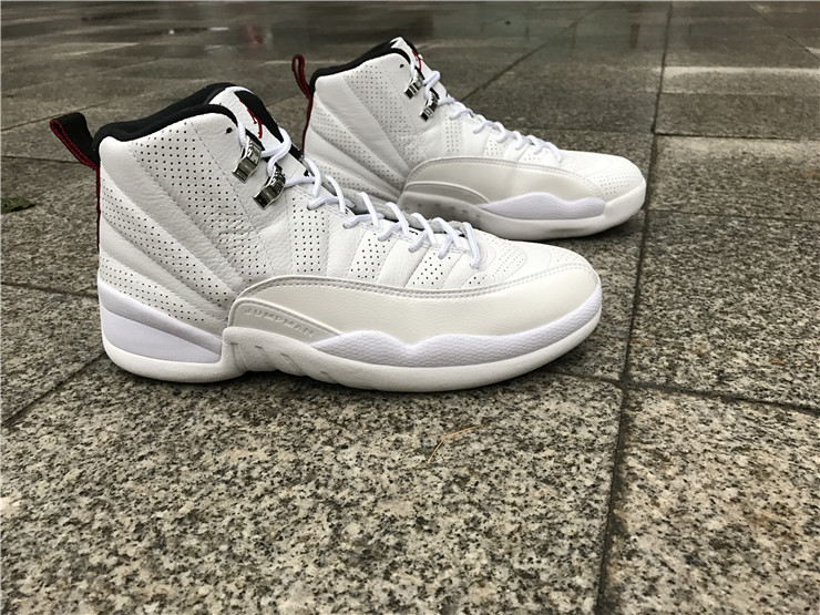 New Men Air Jordan 12 All White Shoes