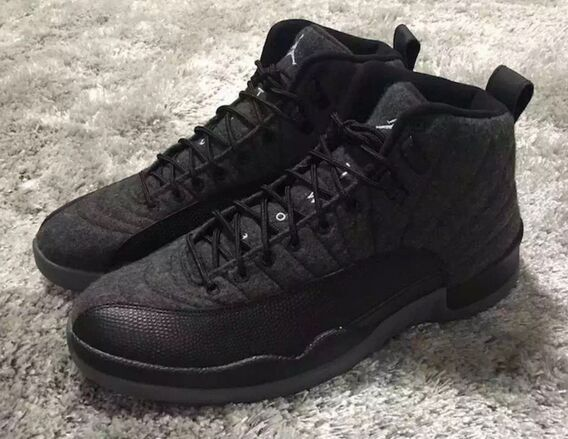 new style 37076 9b0cf New Men Air Jordan 12 Wool All Black Shoes [WOMEN1247 ...