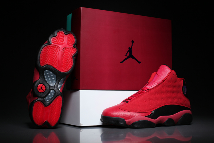 New Men Air Jordan 13 Hot Red Black Shoes