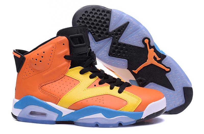 New Men Air Jordan 6 Retro Orange Yellow Black Baby Blue Shoes ... 6cfcc30c3d