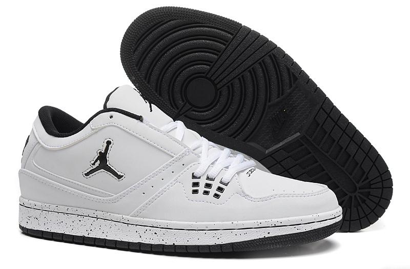newest f9666 ad5a5 2015 Air Jordan 1 Flight Low All White Black Jumpman Shoes