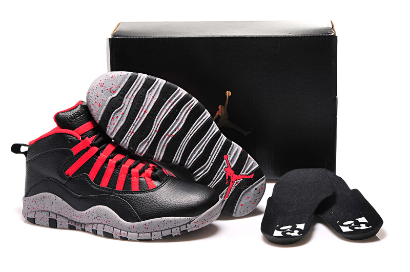 "Men""s New Air Jordan 10 Retro Black Red"