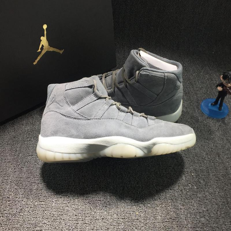 New Men Jordan 11 Grey Suede Shoes