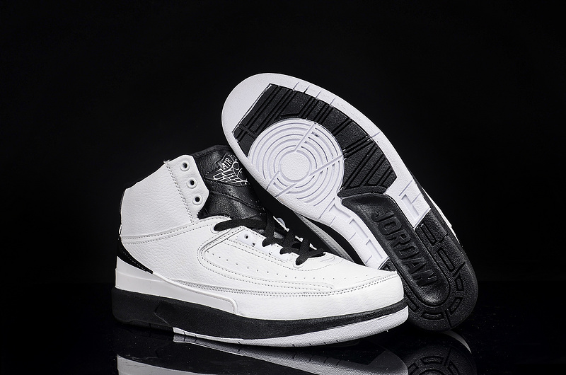 New Men Jordan 2 White Black Shoes