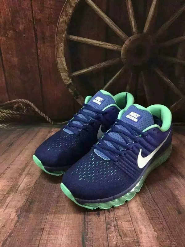 New Men Air Max 2017 Deep Blue White Green Shoes
