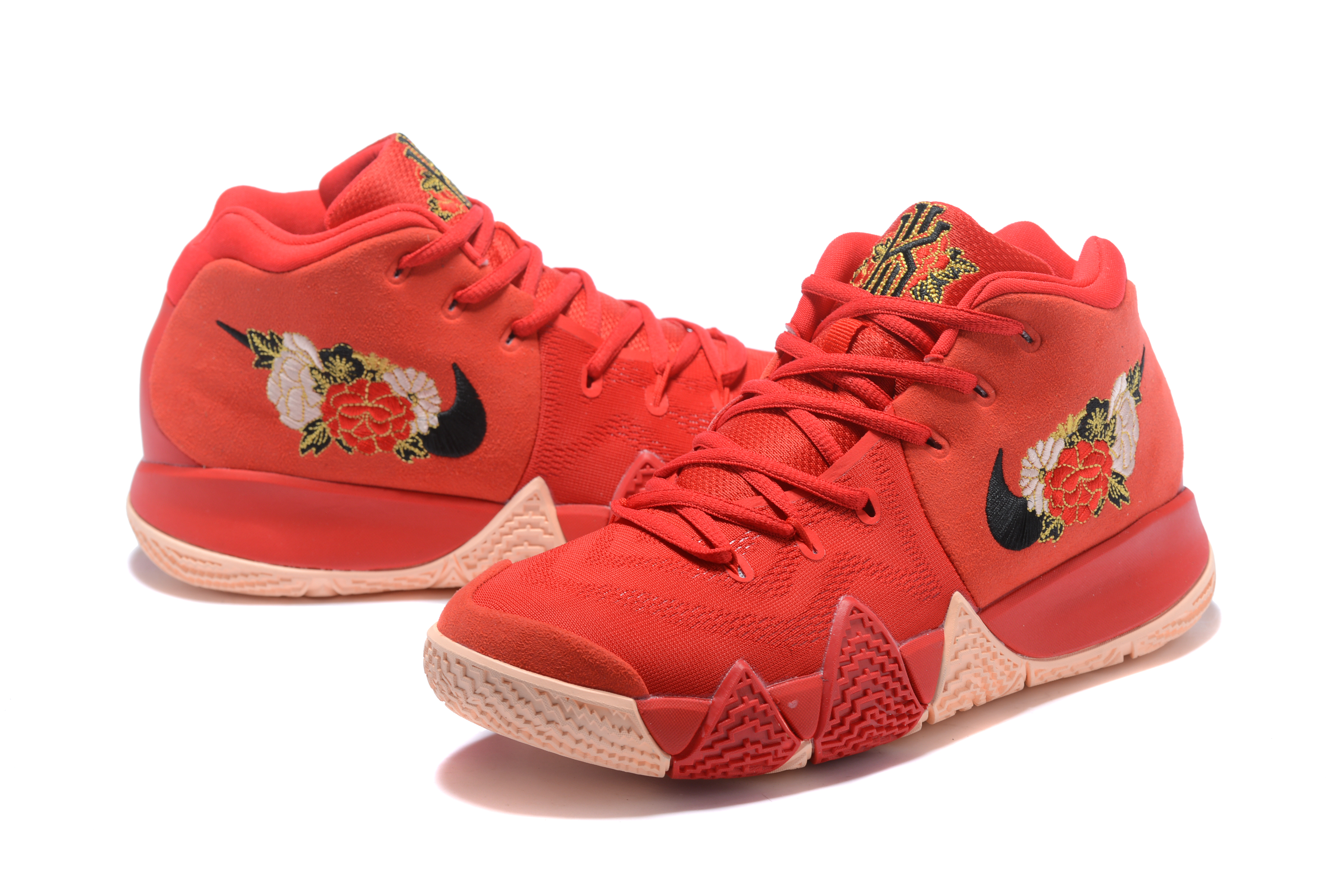 2017 Nike Kyrie 4 Chinese Red FLowers Basketball Shoes