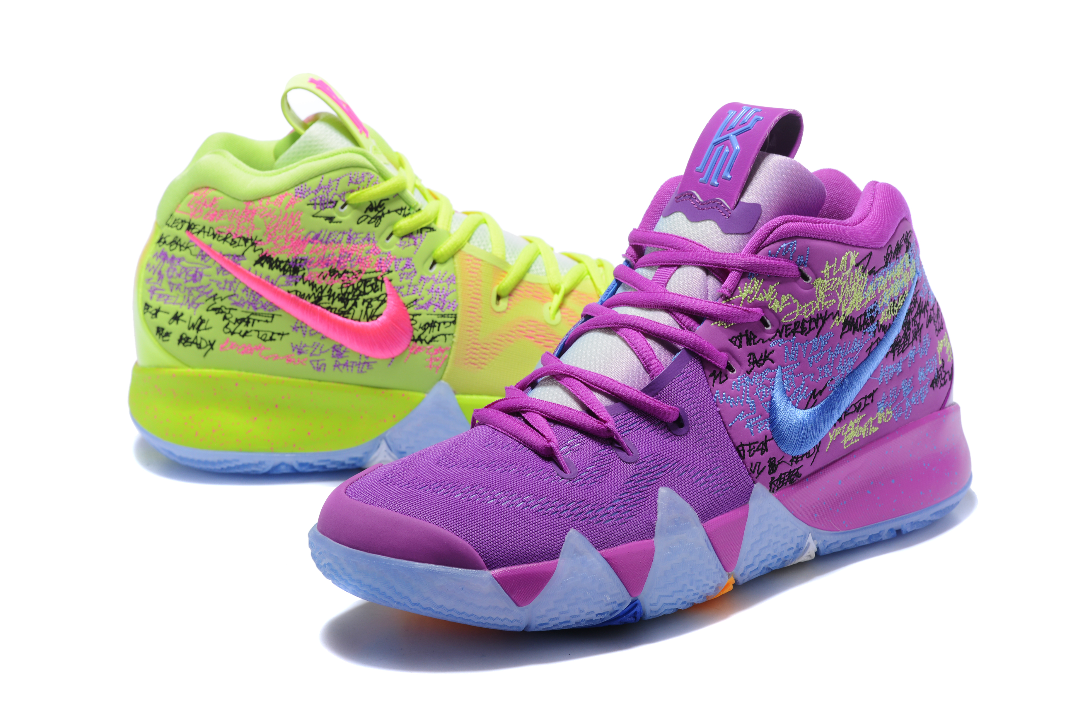 2017 Nike Kyrie 4 Colorful Purple Mandrian Ducks Basketball Shoes