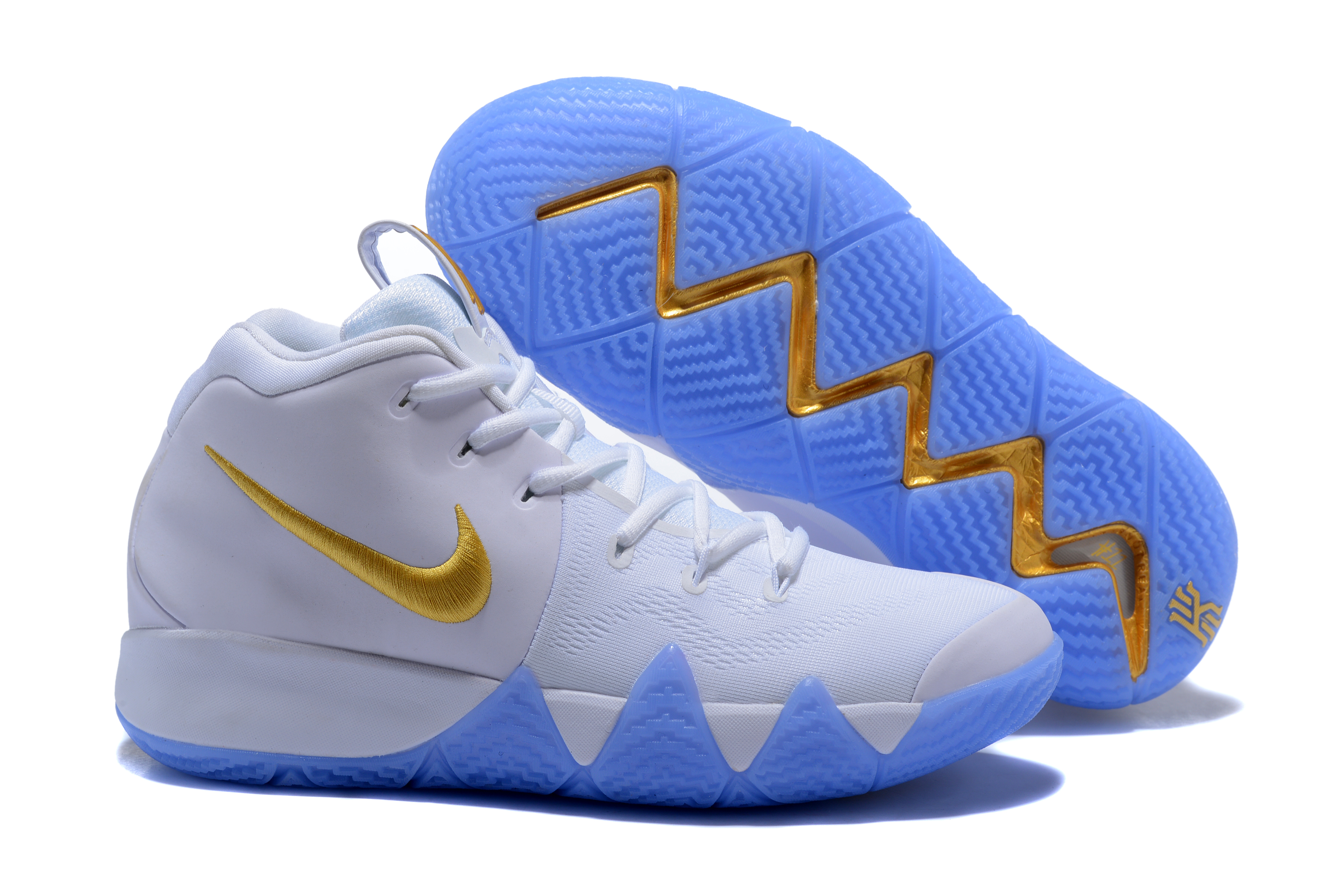 2017 Nike Kyrie 4 WHite Gloden Basketball Shoes