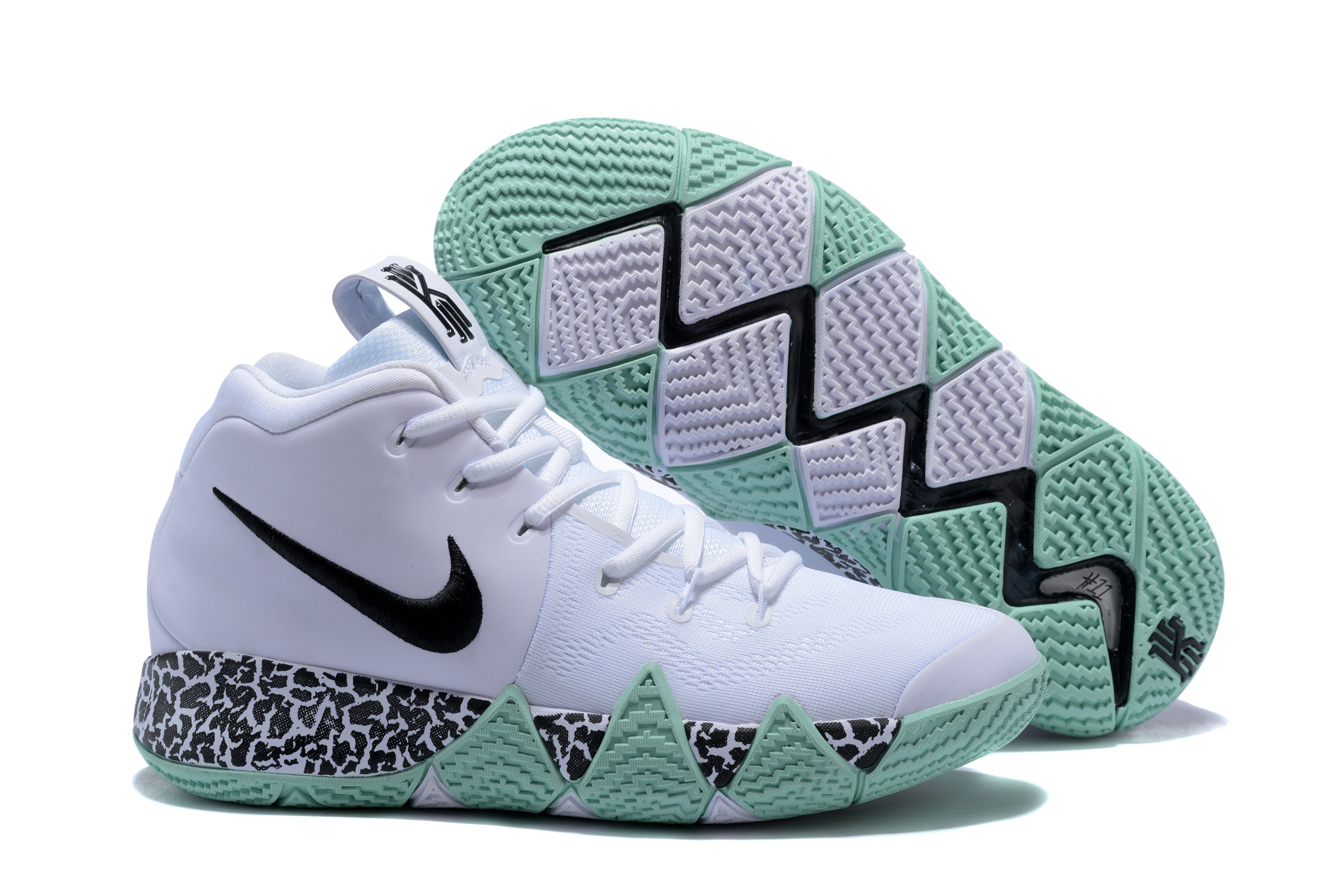 2017 Nike Kyrie 4 White Green Basketball Shoes